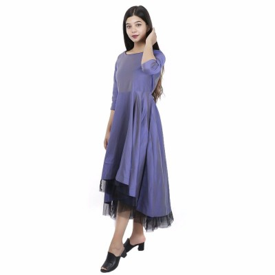 PKSHEE Polycotton Purple Party Dress for Women
