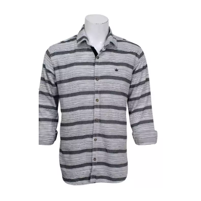 Black/Grey Striped Cotton Full Sleeve Shirt For Men