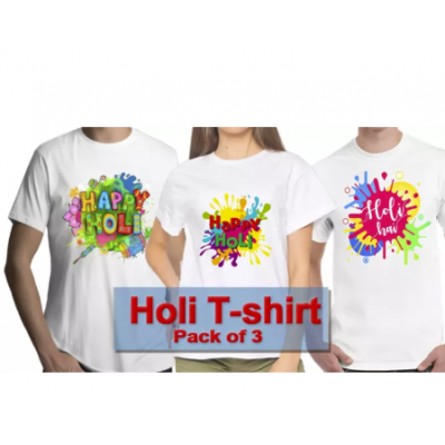 HOLI-SPECIAL Pack of 3 Holi Tshirt (Designs will be send Randomly)