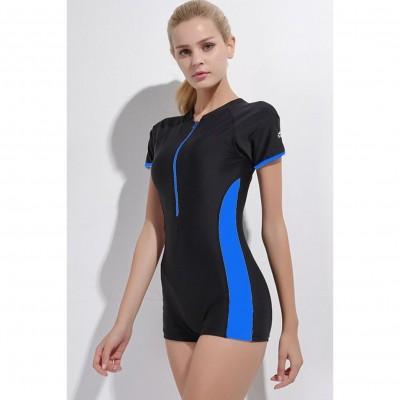 Front Zip Based Short Sleeve Sports Swimwear For Women