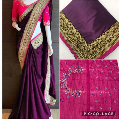 SAMA CORIAN SILK With Heavy Embrodery Lace Border Saree (Purple Color)