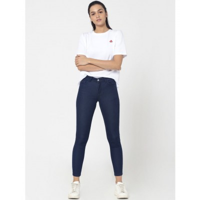 High Waist Dark Blue Slim Fit Denim For Women