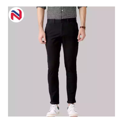 Black Stretchable Cotton Chinos For Men