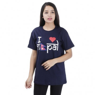 Dark Blue I Love Nepal Printed T-Shirt For Women
