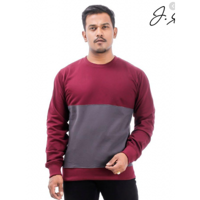 J.Fisher dual Tone Cotton Fleece Sweatshirt For Men (V2)