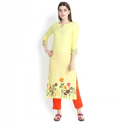 Prakhya Yellow Printed Long Straight Rayon Kurti For Women
