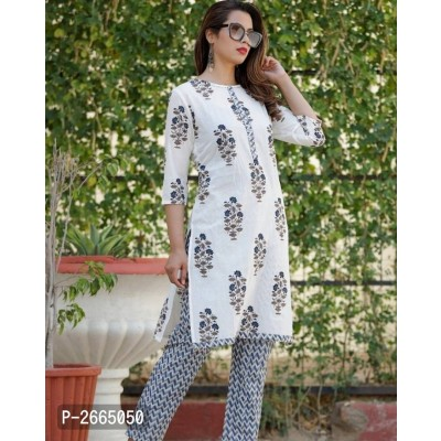 Blue Printed Kurti With Plazo Set
