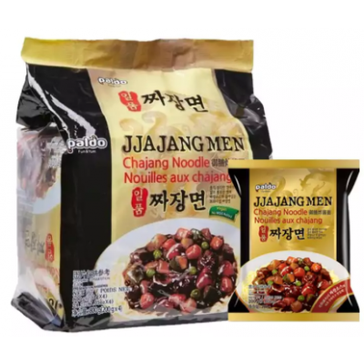 Paldo Jjajang Men Chajang Noodles - 800 gm (200 gm x 4 packets)