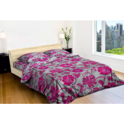 King Size Pink Flower printed Grey Beds Sheet With 2 Pillow Cover And 1 Blanket Cover