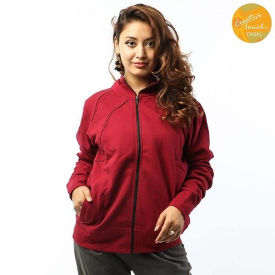 Red Front Zippered Cotton Fleece Jacket