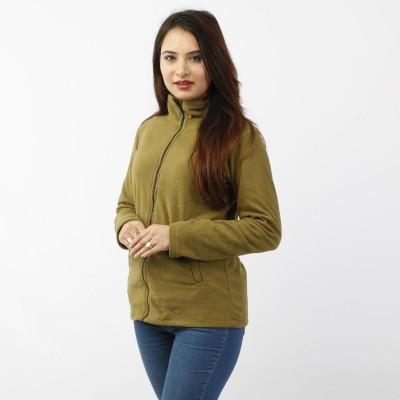 Heena Green Front Zippered Polar Fleece Jacket For Women MJK1076