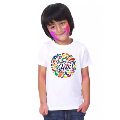 HOLI-SPECIAL Holi T-shirts for Kids (Designs will be send Randomly)