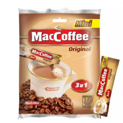 MacCoffee Original Coffee Mix 3 In 1 Mini - 192 gm (12 gm X 16 Sachets)