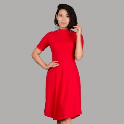 Red Lilliam Skater Dress For Women By Nyptra