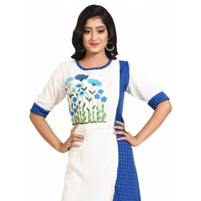 Women's Linen Embroidered Kurti