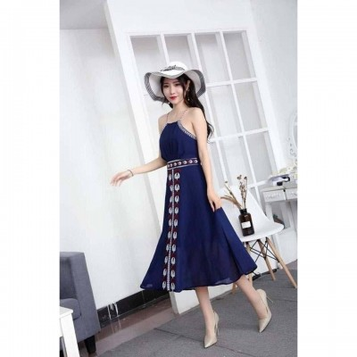 Summer Embroidery O-Neck Spaghetti Strap High Waist Midi Dress - Blue