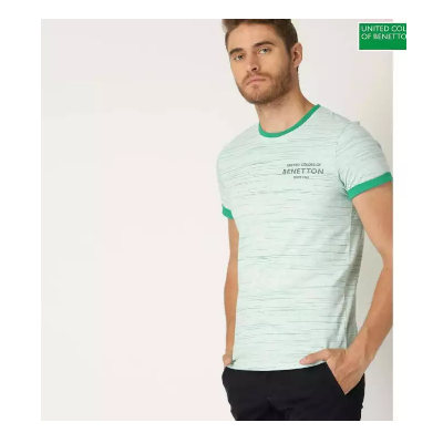 Benetton Grey/Green Short Sleeve T-Shirt For Men