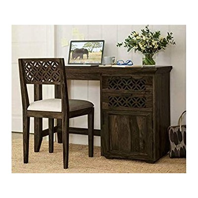 DriftingWood Sheesham Wood Writing Study Table for Home and Office with Chair   Study Desk   Natural Brown Finish