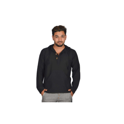 Black Plain Cotton Kurta Shirt With Hoodie For Men