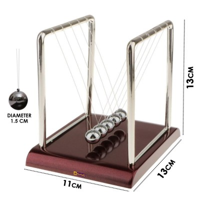 Kurtzy Newton Cradle Pendulum Swing Balance Ball Decoration for Home & Classic Desk Toy (Brown)