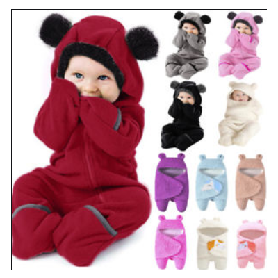 Infant Toddler Baby Girls Boys Cartoon Ears Hoodie Romper Zip Clothes Jumpsuit Fashion set