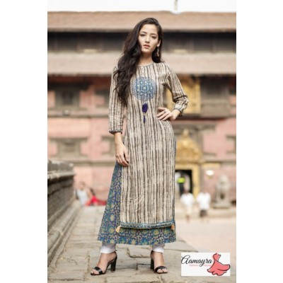 Brown Green Double Layer Kurti For Women
