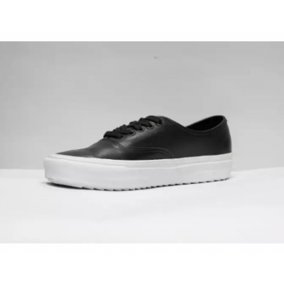 Vans Black Authentic Waffles Premium Leather Shoes For Men