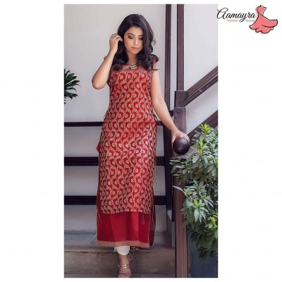 Red Double Layer Kurti With Golden Jari Work