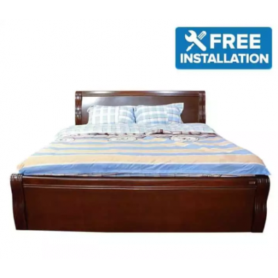 Seesau Wood Frame King Size Bed Wth 2 Side Table - Walnut