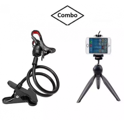 Combo Pack Of Flexible Lazy Mobile Stand + Mini Tripod Holder Stand