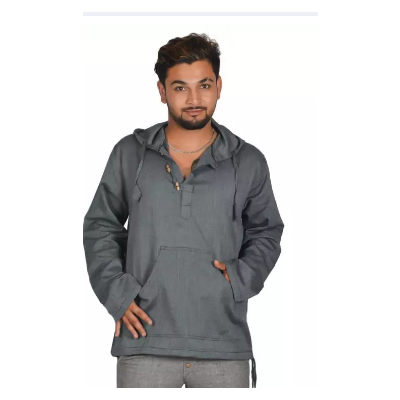 Dark Grey Hooded Kurta Shirt For Men