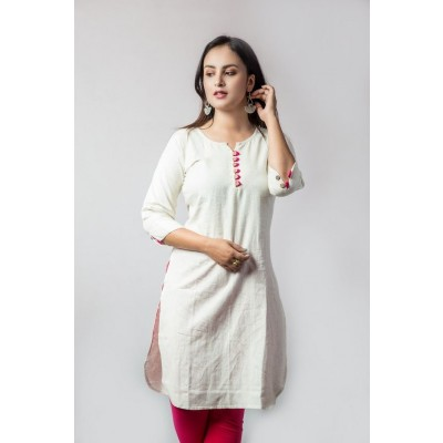 Off-White Linen Ethnic Kurti For Women