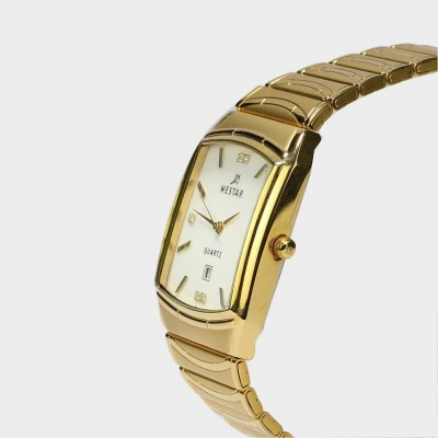 Westar  White Dial Analog Watch For Men - Golden