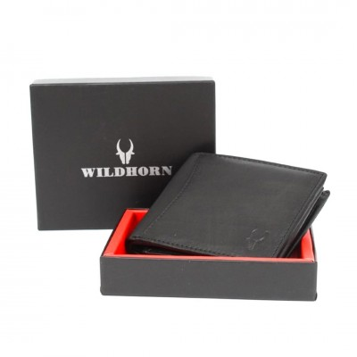 WildHorn Nepal Men's RFID Protected Leather Wallet (Pitch Black)