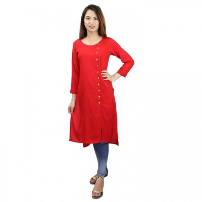 Red Slub Rayon Front Side Buttoned High Low Kurti For Women
