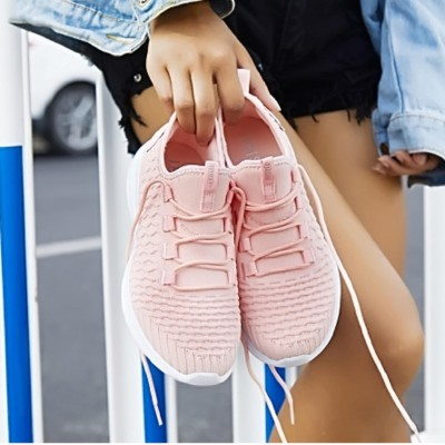 Peach Lace Up Sneakers For Women