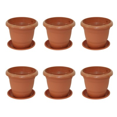 "Gem Brown Plastic 8"" Diameter Flower Pot With Plate"