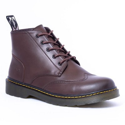 Caliber Shoes Coffee Lace Up Lifestyle Boots For Men