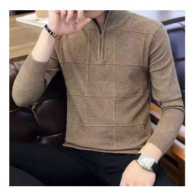 Brown Half Zip Sweater For Men