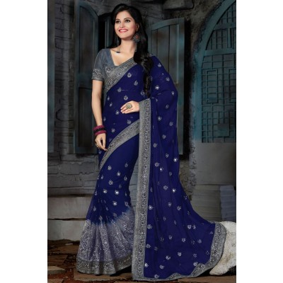 Blue Party Wear Net Saree