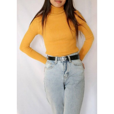 Plain High Neck Women Sweater