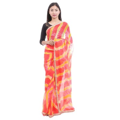 Orange Chiffon Abstract Printed Saree with Unstitched Blouse For Women