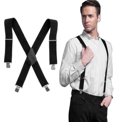 Black Spandex Suspender For Men