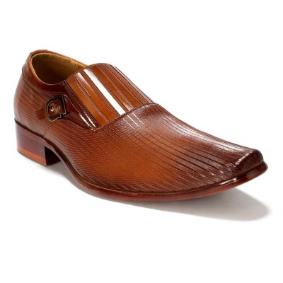 Remember Cinnamon Brown Buckle Design Formal Shoes For Men (M771-01)