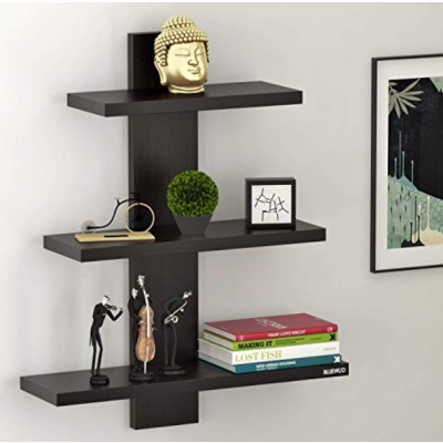 Bluewud Phelix Wall Decor Book Shelf/Wall Display Rack (Wenge, 3 Shelves)