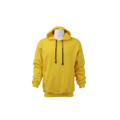 Yellow Solid Cotton/Fleece Pullover Hoodie For Men