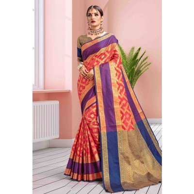Blue/Gold Art Silk Banarasi Saree with Unstitched Blouse For Women