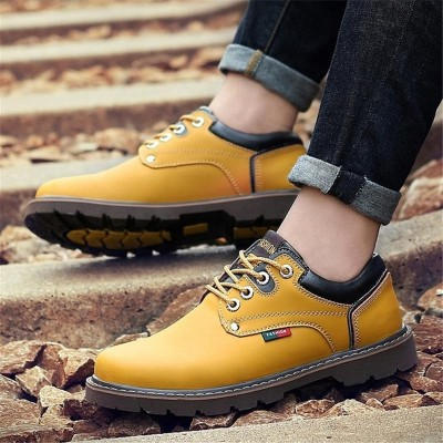 Natural Leather Oxfords Outdoor Lace Up Ankle Boots Business Sneakers