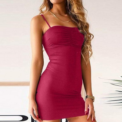 Women Sleeveless Mini Solid Dresses Vintage Bodycon Party Dress