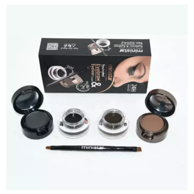 MINISTAR 4in1 Brown + Black Gel Eyeliner and Eyebrow Powder Make Up Water-proof and Smudge-proof